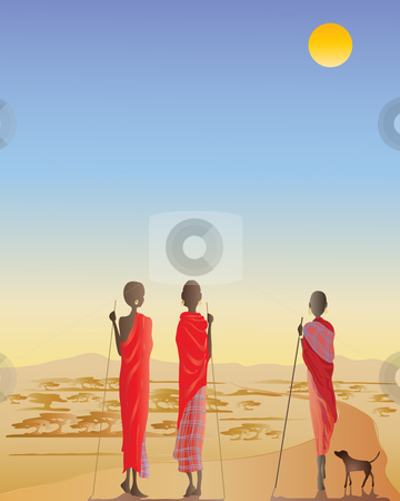 Masai men on a dirt track stock vector clipart, An illustration of three masai men on a dirt track with a small dog in front of acacia trees and distant hills by Mike Smith