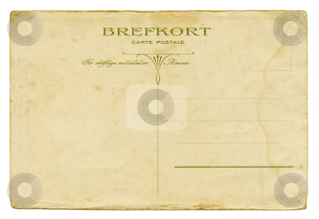 Greetings from Sweden stock photo, Backside of a vintage Swedish post card from circa 1900. by Stocksnapper
