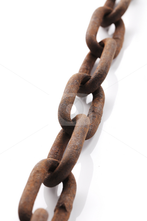 Old chain stock photo, Old rusty chain on white background with natural shadows. by Stocksnapper