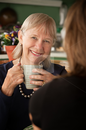 Senior woman in kitchen with daughter or friend stock photo, Senior woman in kitchen talking with daughter or friend by Scott Griessel