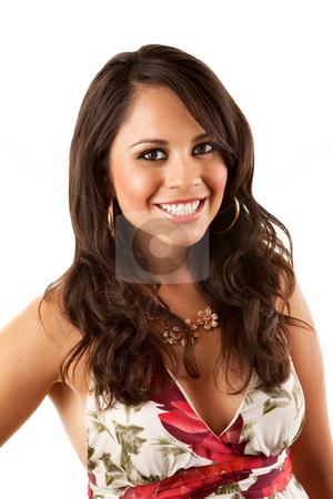Pretty Hispanic Woman stock photo, Pretty Hispanic Woman in Flowery Dress on White Background by Scott Griessel