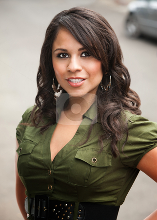 Pretty Hispanic Woman Outdoors stock photo, Pretty Brunette Hispanic Woman Outdoors on Street by Scott Griessel