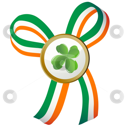 Four leaves clover badge  stock photo, Four leaves clover badge and Ireland flag ribbon by Richard Laschon