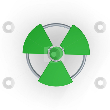 Nuclear stock photo, Green nuclear symbol  - 3d illustration by J?