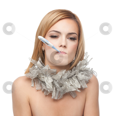 Young blonde woman being ill and sad, with a scarf around her ne stock photo, A portrait of a young blonde woman, being ill, holding a thermometer in her mouth and with a scarf around her neck by dan comaniciu