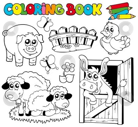 Coloring book with farm animals 2 stock vector clipart, Coloring book with farm animals 2 - vector illustration. by Klara Viskova