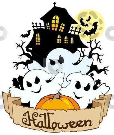 Halloween banner with three ghosts stock vector clipart, Halloween banner with three ghosts - vector illustration. by Klara Viskova