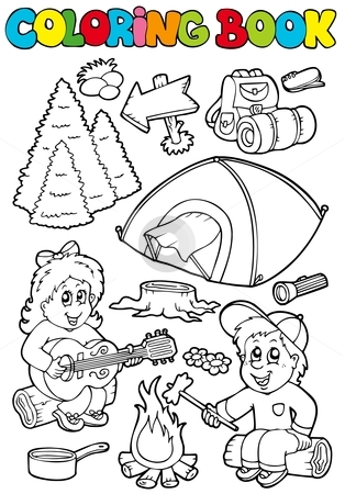 Coloring book with camping theme stock vector clipart, Coloring book with camping theme - vector illustration. by Klara Viskova