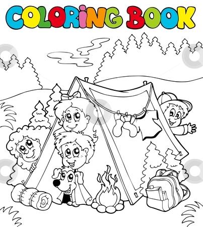 Coloring book with camping kids stock vector clipart, Coloring book with camping kids - vector illustration. by Klara Viskova
