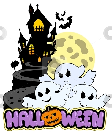 Halloween theme with three ghosts stock vector clipart, Halloween theme with three ghosts - vector illustration. by Klara Viskova