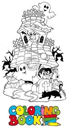 Coloring book with haunted house stock vector clipart, Coloring book with haunted house - vector illustration. by Klara Viskova