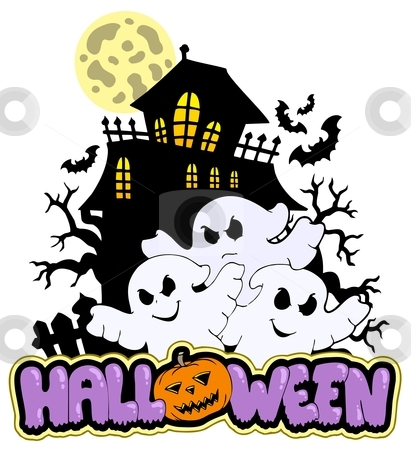 Halloween sign with three ghosts 1 stock vector clipart, Halloween sign with three ghosts 1 - vector illustration. by Klara Viskova