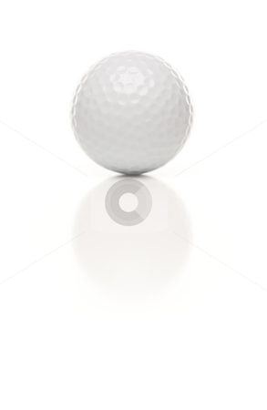 Single White Golf Ball on White stock photo, Single White Golf Ball Isolated on a White Background. by Andy Dean