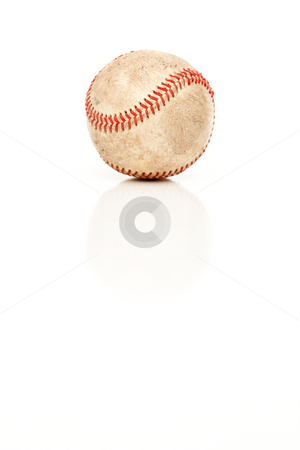 Single Baseball Isolated on White stock photo, Single Baseball Isolated on White Reflective Background. by Andy Dean