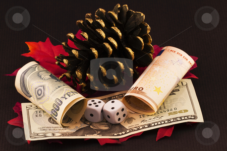 So Many Risky Bets stock photo, Winter and autumn images of pine cone and red leaves integrate with dice placed on American currency and next to currency bills of yen and euro.  This year continues to be mired in the risk created by the  precarious nature of world wide economies. by Florence McGinn