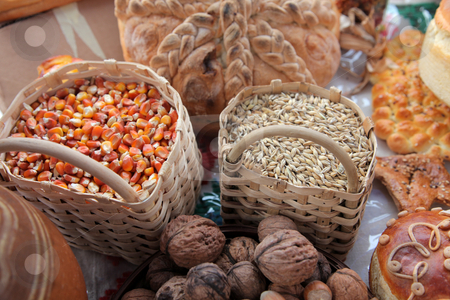Basket with wheat and maize stock photo,  by Zvonimir Atletic