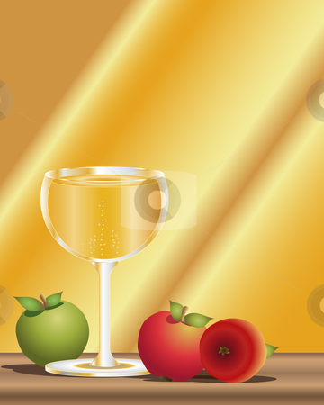 Cider stock vector clipart, An illustration of a glass of cider with three apples on a wooden table with sunlight in the background by Mike Smith