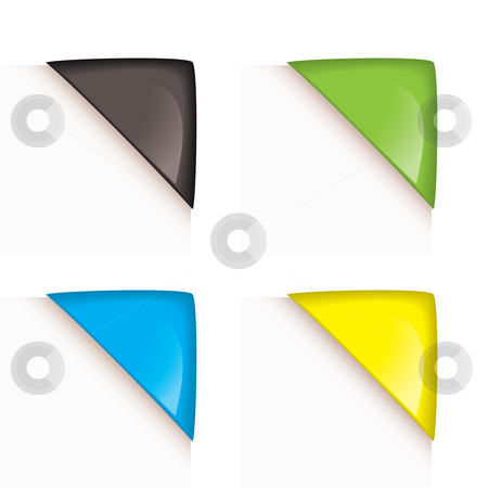 Paper corner icons stock vector clipart, Collection of four colorful paper corner icons with reflection by Michael Travers