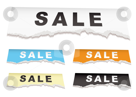Sale torn paper stock vector clipart, Piece of torn white paper with shop sale icon tag by Michael Travers