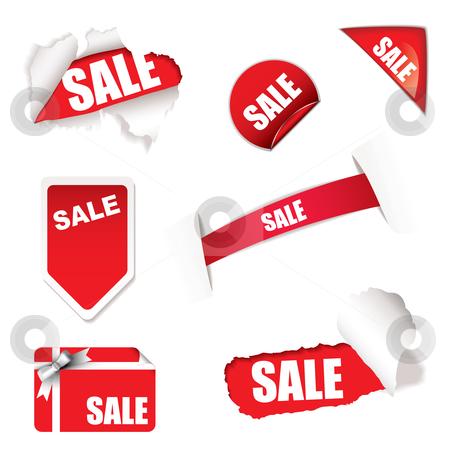Shop sale elements stock vector clipart, Red shop sale elements on white background design concept by Michael Travers