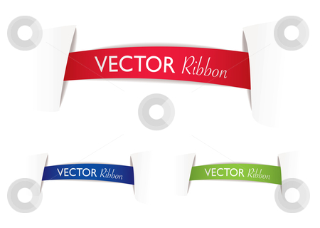 Ribbon banner stock vector clipart, Illustrated ribbon banners with paper cuts and shadow by Michael Travers