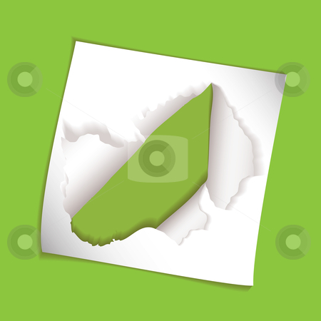 Paper element rip hole stock vector clipart, Green background with torn hole element and copyspace by Michael Travers