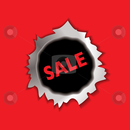 Sale bullet hole stock vector clipart, Metal bullet hole with sale icon and red background by Michael Travers