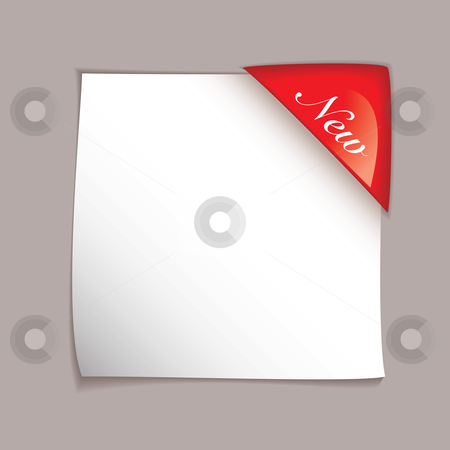 Paper corner cover sheet stock vector clipart, White square paper element with red corner tag and shadow by Michael Travers