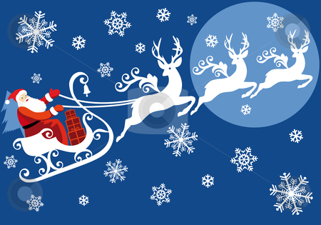 Santa with his sleigh stock vector clipart, Christmas Santa riding on sleigh with reindeer, vector background by Beata Kraus