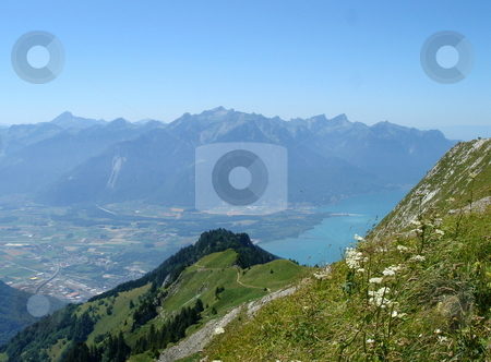 View of Villereuse from the Alps mountain stock photo, View of Villereuse, Switzerland, and lake of Geneva from the Alps mountain by beautiful weather by Elenarts