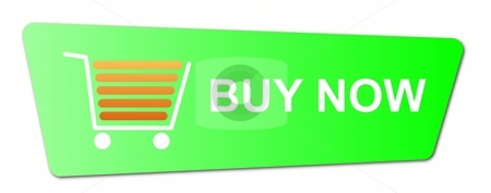 Buy Now Green stock photo, Buy now button with a shopping cart on white background. by Henrik Lehnerer