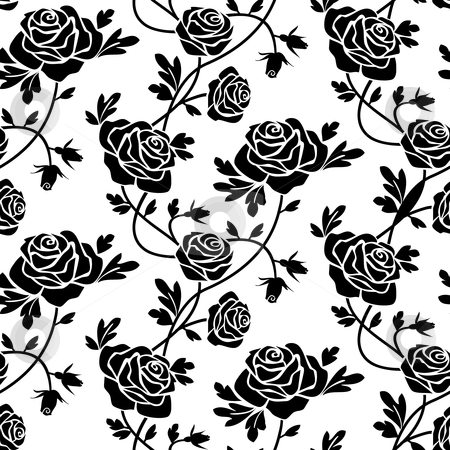 Black roses at white stock vector clipart, Romantic roses seamless pattern, black flowers at white background, repeating design. by Ela Kwasniewski