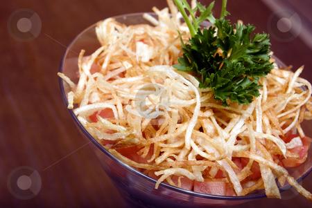 Fresh Salad   stock photo, Salad with crunchy potato in glass by Kirill Kedrinski