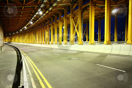 High speed tunnel stock photo, High speed tunnel at night in hong kong. by Keng po Leung