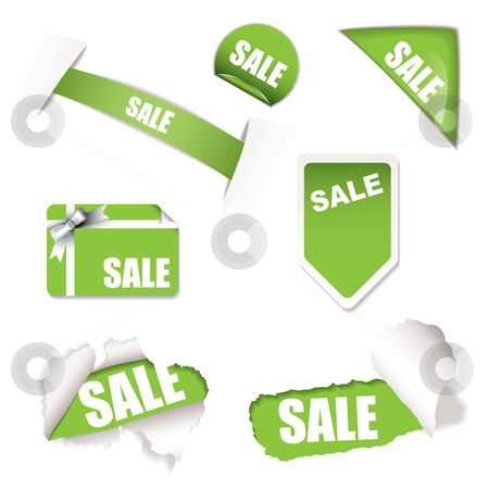Shop sale elements green stock vector clipart, Green sale tag concept with torn paper and gift tag by Michael Travers