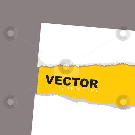 Torn paper revela yellow stock vector clipart, Torn paper background concept with yellow sheet and shadow by Michael Travers