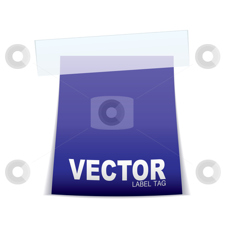 Label tag icon purple stock vector clipart, Purple paper tag icon with sticky tape and shadow by Michael Travers