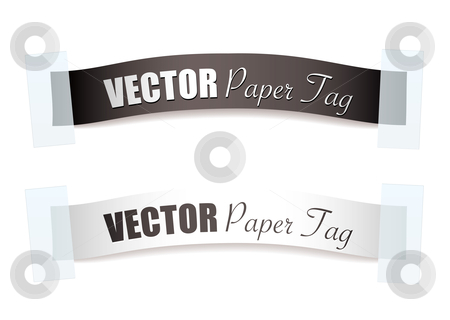 Paper ribbon silver tag stock vector clipart, Two paper ribbon strips with sticky tape icons and shadow by Michael Travers