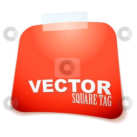 Square tag red stock vector clipart, Red paper square tag with sticky tape and drop shadow by Michael Travers