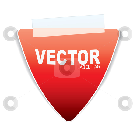Triangle paper tag stock vector clipart, Orange or red triangle paper with sticky tape and shadow by Michael Travers