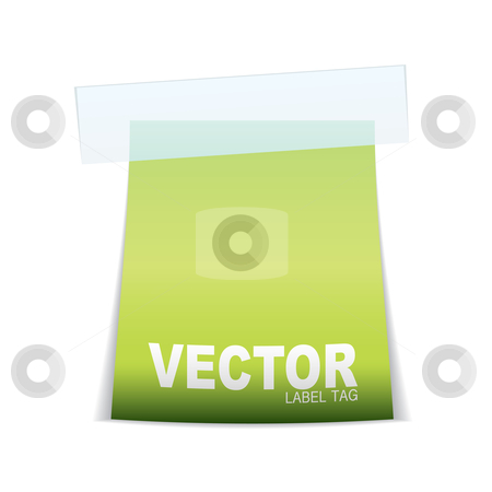 Label tag icon stock vector clipart, Paper label with sticky tape and light reflection and space for text by Michael Travers