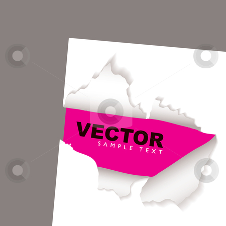 Torn paper reveal pink stock vector clipart, Pink background with white paper and text space by Michael Travers