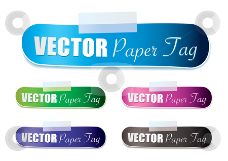 Lozenge tag stock vector clipart, Paper lozenge shape with tape tag and drop shadow by Michael Travers