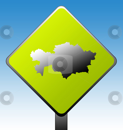 Kazahkstan Road sign stock photo, Kazahkstan green diamond shaped road sign with gradient blue sky background. by Martin Crowdy