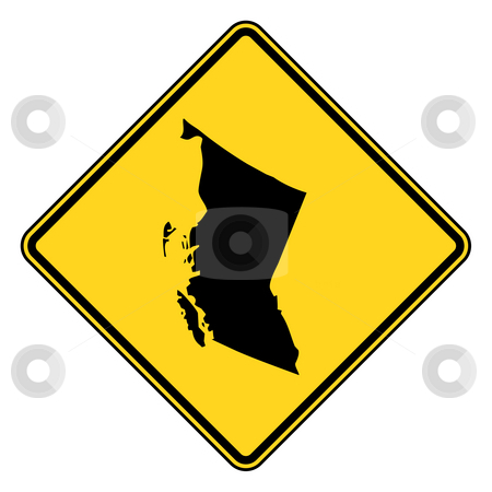 British Columbia road sign stock photo, British Columbia diamond shaped road sign with copy space, isolated on white background. by Martin Crowdy