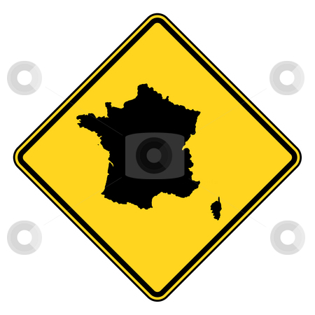 France road sign stock photo, France map road sign in yellow, isolated on white background. by Martin Crowdy