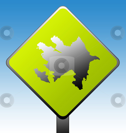 Azerbaijan road sign stock photo, Azerbaijan green diamond shaped road sign with gradient blue sky background. by Martin Crowdy