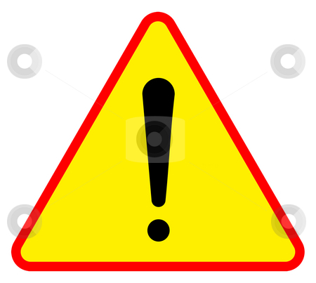 Warning sign stock photo, Yellow triangular warning sign, isolated on white background. by Martin Crowdy