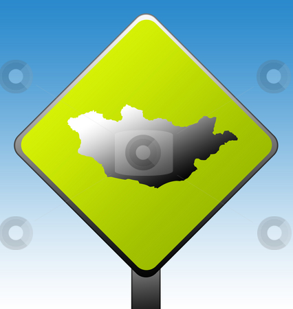 Mongolia road sign stock photo, Mongolia green diamond shaped road sign with gradient blue sky background. by Martin Crowdy