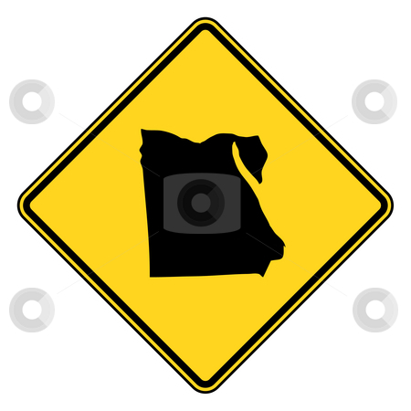 Egypt road sign stock photo, Egypt diamond shaped road sign isolated on white background. by Martin Crowdy